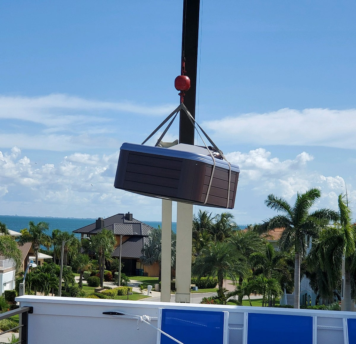 Nordic Retreat Hot Tub Crane Install in Sarasota